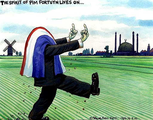 17.05.2002: Steve Bell on the election in the Netherlands